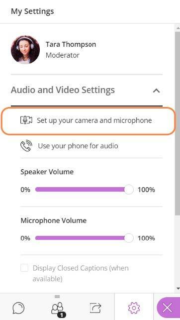Set up your camera and microphone option button